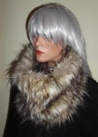 Brown and Beige Wolf Fur Snood